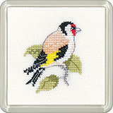 Cross stitch goldfinch coaster
