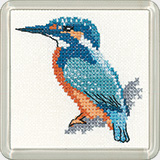 Cross stitch kingfisher coaster