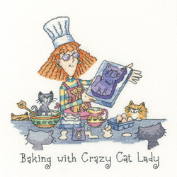 Baking with Crazy Cat Lady cross stitch