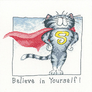 Believe in Yourself cat cross stitch