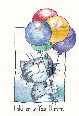 Hold on to Your Dreams cat cross stitch