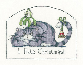 I Hate Christmas cross stitch cat