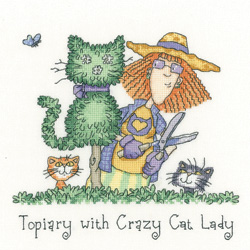 Topiary with Crazy Cat Lady cross stitch