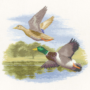 Cross stitch Mallard Ducks in flight