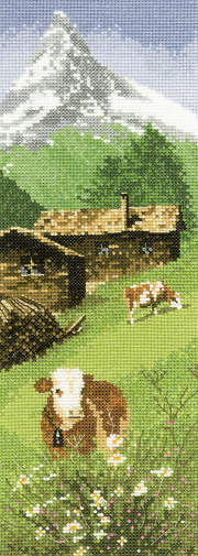 An Alpine Meadow scene in counted cross stitch