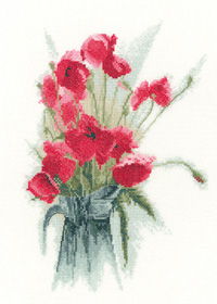 Jug of Poppies cross stitch by John Clayton
