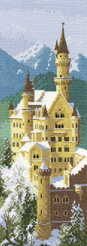 Neuschwanstein Castle in cross stitch