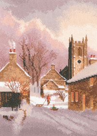 Snowy Village cross stitch by John Clayton