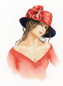 Claire, an Elegant lady in counted cross stitch by John Clayton