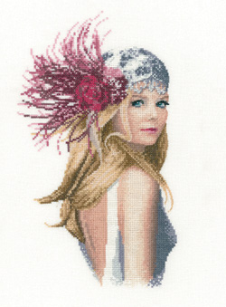 Fleur, an Art Deco lady in counted cross stitch by John Clayton