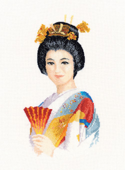 Suko, an Elegant Geisha in counted cross stitch by John Clayton