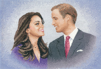 Prince William and Catherine Middleton in counted cross stitch