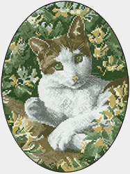 Cross stitch brown and white cat