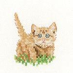 Cross stitch ginger kitten