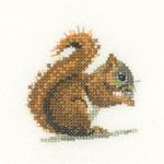 Cross stitch red squirrel