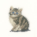 Cross stitch tabby kitten
