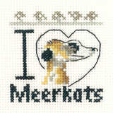 A small cross stitch meerkat kit - I Love Meerkats!