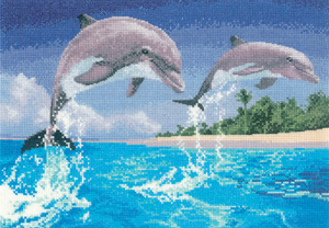 Cross stitch dolphins by John Clayton