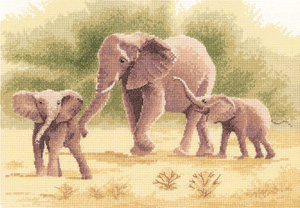 Cross stitch elephants by John Clayton
