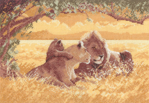 Cross stitch lions by John Clayton