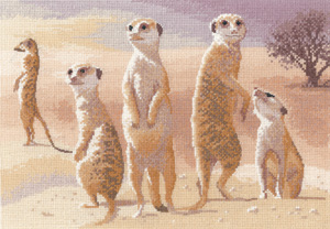 Cross stitch meerkats by John Clayton