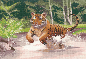 Cross stitch tiger by John Clayton