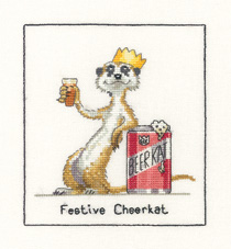 A Festive meerkat in counted cross stitch