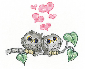 Hearts and Feathers owl cross stitch