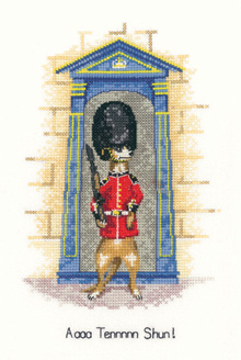 A cross stitch meerkat soldier on guard, by Peter Underhill