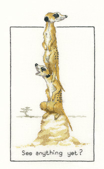 Meerkats in counted cross stitch