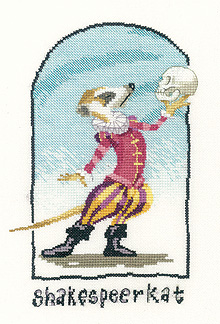 A cross stitch meerkat wedding sampler, by Peter Underhill