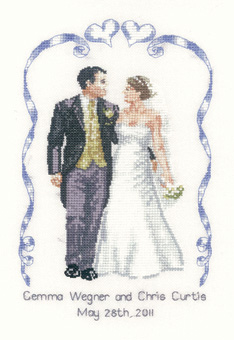 A cross stitch wedding sampler by Peter Underhill