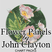Cross stitch flower panels by John Clayton