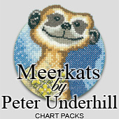 Meerkats in cross stitch by Peter Underhill