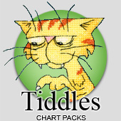 Tiddles the cat cross stitch charts