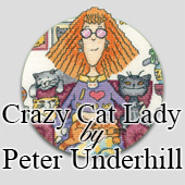 Crazy Cat Lady cross stitch designs by Peter Underhill
