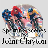 Cross stitch sporting scenes by John Clayton