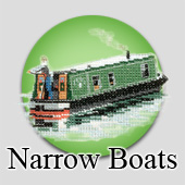 Counted cross stitch narrowboats