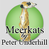 Cross stitch meerkats by Peter Underhill