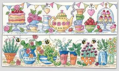 Afternoon Tea and Herb Garden cross stitch by Karen Carter