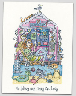 Crazy Cat Lady - cat cross stitch by Peter Underhill