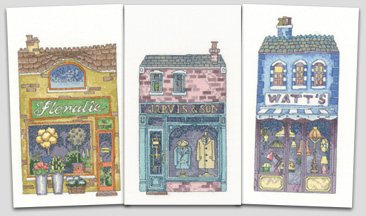 Peter Underhill's High Street Shops in cross stitch